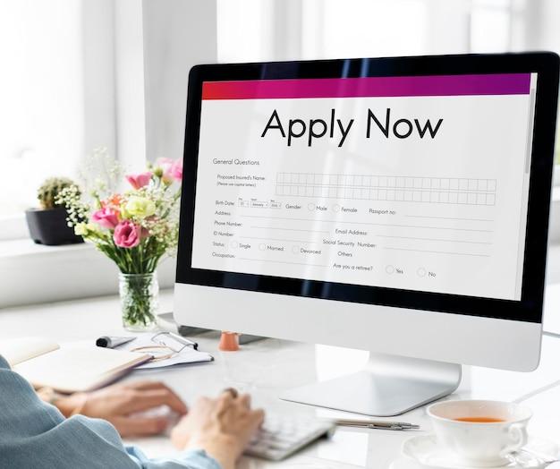 Bewerben sie sich online-bewerbungsformular rekrutierungskonzept