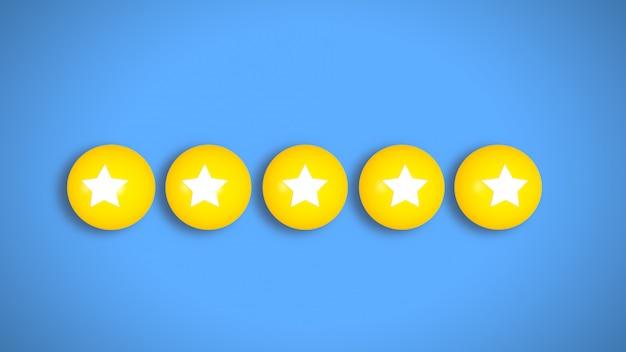 Bewertungsrate 5 sterne social media style 4k. illustration.