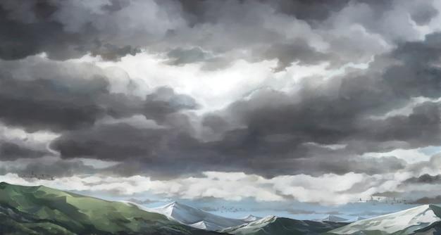 Bewölkter himmel, bedeckte himmelsillustration.