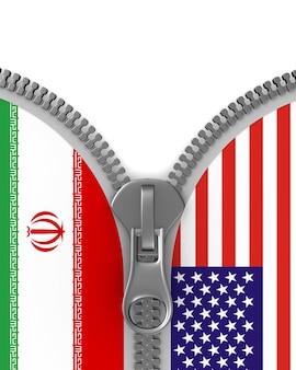 Beziehung zwischen amerika und iran auf weißem hintergrund. isolierte 3d-illustration