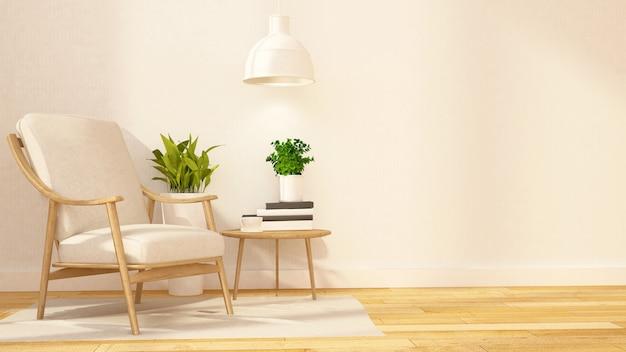 Bibliotheksraum und relaxbereich - 3d-rendering