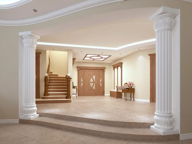 Bibliotheksregale mit büchern im modernen raum und große fenster unter der treppe. 3d-rendering.