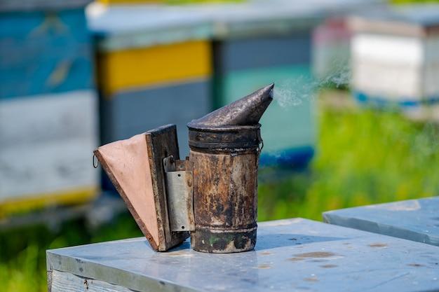 Bienenraucher im bienenstock. nesselsucht hintergrund im bienenhaus. arbeitet an den bienenständen im frühjahr.