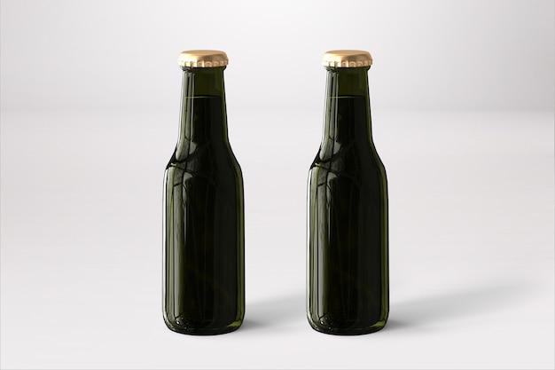 Bierflaschen-mock-up mit leerem etikett auf weißem hintergrund. oktoberfest-konzept.