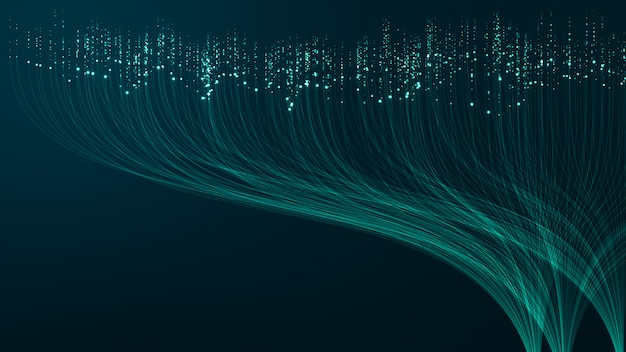 Big data-hintergrundkonzept der abstrakten technologie. bewegung des digitalen datenflusses. t.
