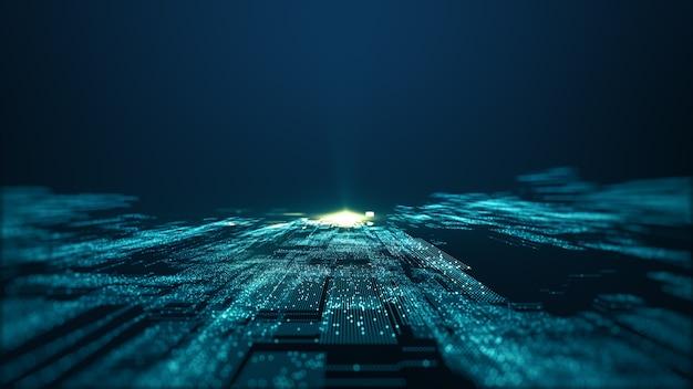 Big data-hintergrundkonzept der abstrakten technologie. bewegung des digitalen datenflusses. übertragung von big data. übertragung und speicherung von datensätzen, block chain, server, highspeed-internet.