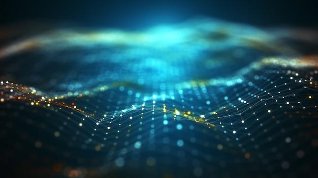 Big-data-hintergrundkonzept der abstrakten technologie. bewegung des digitalen datenflusses. übertragung von big data. übertragung und speicherung von datensätzen, blockchain, server, highspeed-internet.