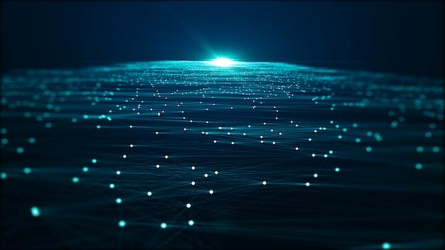 Big data-hintergrundkonzept der abstrakten technologie. bewegung des digitalen datenflusses. übertragung von big data. übertragung und speicherung von datensätzen, blockchain, server, highspeed-internet.