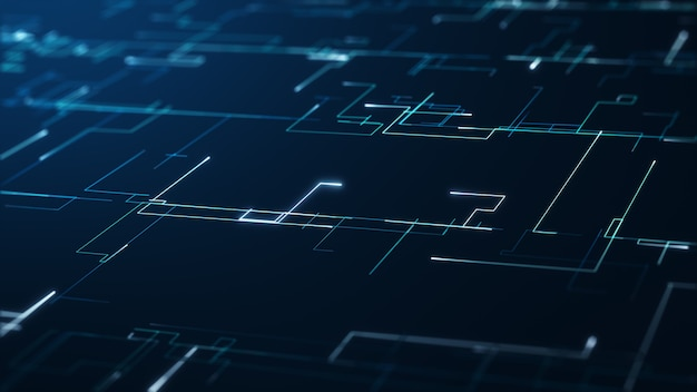 Big-data-konzept der abstrakten technologie. bewegungsgrafik für abstraktes rechenzentrum, datenfluss. übertragung von big data und speicherung von blockchain, server, hi-speed internet. 3d-rendering.