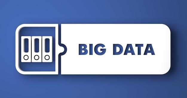 Big data-konzept. weißer knopf auf blauem hintergrund im flachen entwurfsstil.