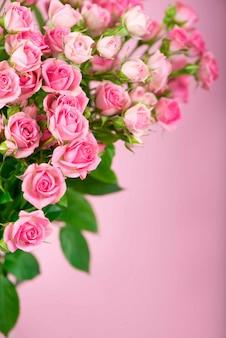 Big roses bouquet. zweig der rosa rosen. isoliert