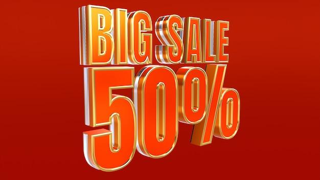 Big sale design 50% rabatt auf rabatt und sonderangebot banner