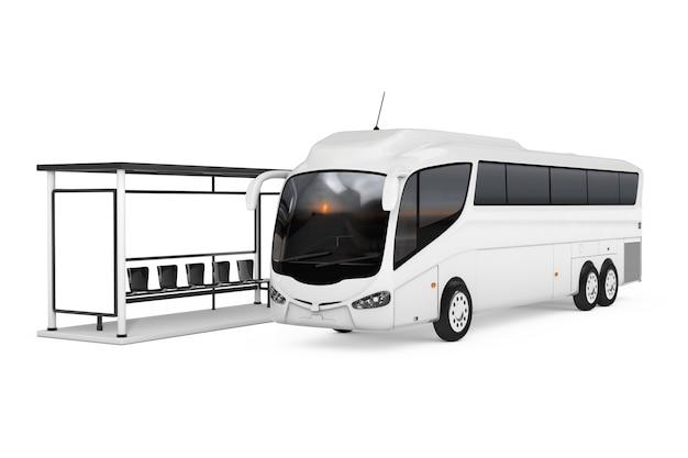 Big white coach tour bus in der nähe von busbahnhof auf weißem hintergrund. 3d-rendering