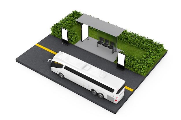 Big white coach tour bus in der nähe von bushaltestelle mit leeren billboards auf weißem hintergrund. 3d-rendering