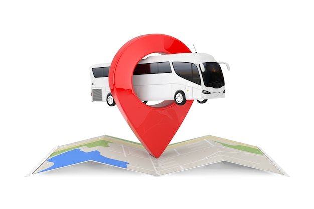 Big white coach tour bus über gefaltete abstrakte navigationskarte mit ziel-pin-zeiger auf weißem hintergrund. 3d-rendering