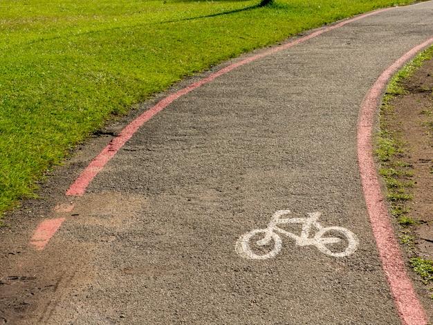 Bike lane schilder auf straßenboden