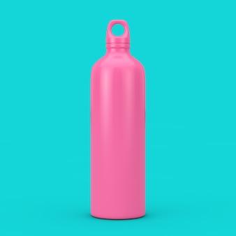 Bike water sport bottle mockup im duotone style auf blauem grund. 3d-rendering
