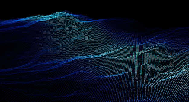 Bild 3d übertragen von einem punktierten blauen wellenhintergrund