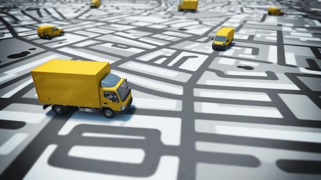Bild der karte der straßen mit lastwagen