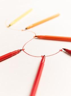 Bild der linearen route mit markierungen gemalt