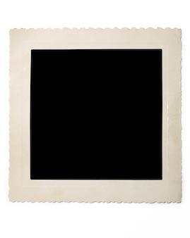 Bild des alten leeren fotos mit schatten auf weißer oberfläche