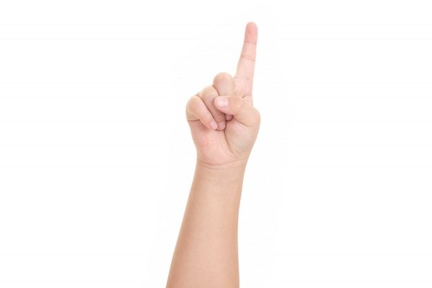 Bild des finger des jungen zeigend.