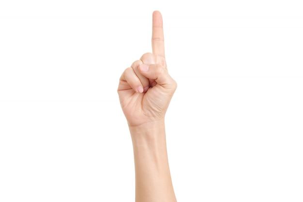 Bild des frauenfingers, der zeigt.