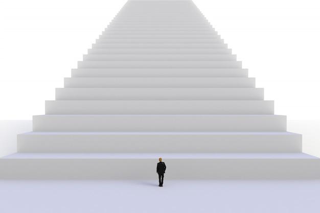 Bild des miniaturgeschäftsmannes stehend vor weißer treppe auf weißem wandhintergrund