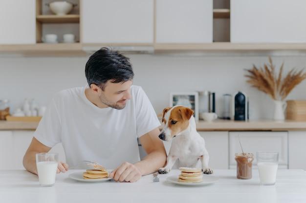 Bild des unrasierten europäischen mannes des brunet verbringt freizeit zusammen mit stammbaumhund, isst pfannkuchen in der küche, genießt den süßen nachtisch und kleidete beiläufig an. frühstück, familie, tiere und essenkonzept