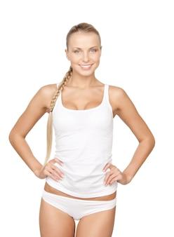 Bild einer hübschen frau in weißer baumwollunterwäsche