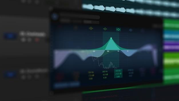 Bild einer mehrspurigen audiowelle auf dem monitor. aufnahme, mischung und mastering im studio.