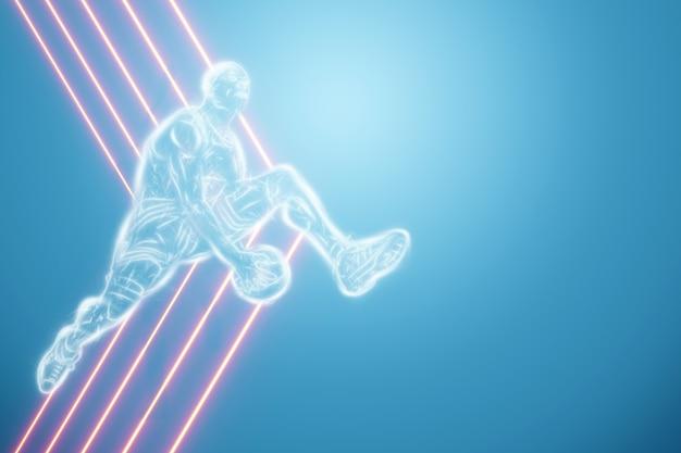 Bild eines basketballspielers in einem sprung. kreative collage, sportflieger. basketballkonzept, sport, spiel, gesunder lebensstil. kopieren sie platz, 3d-darstellung, 3d-rendering.