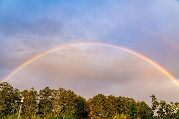 Bild eines schönen regenbogens über den bäumen, doppelter regenbogen.