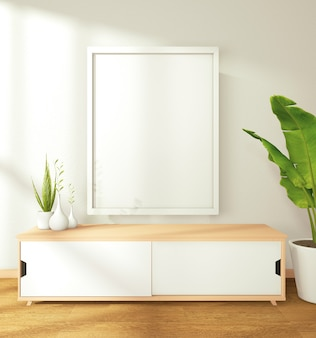 Bild eines weißen hutes an der wand und am schrank und machte einen großen baum im modernen zen wohnzimmer geschmückt. 3d-rendering