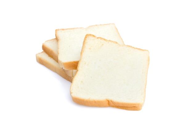 Bild von geschnittenem weißbrot zum frühstück isoliert auf weißem hintergrund
