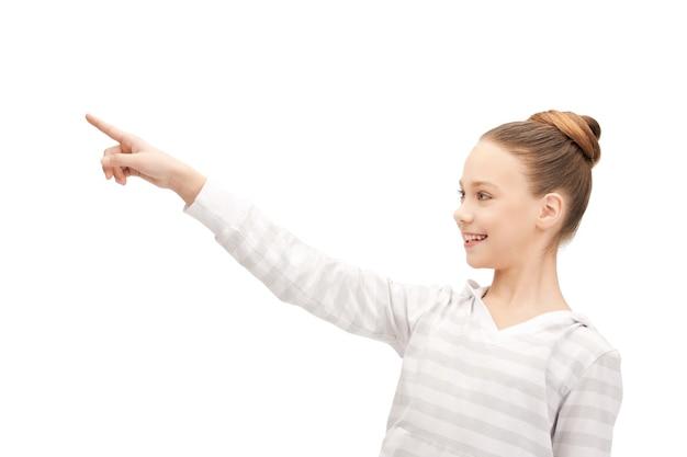 Bild von teenager-mädchen, das mit dem finger zeigt