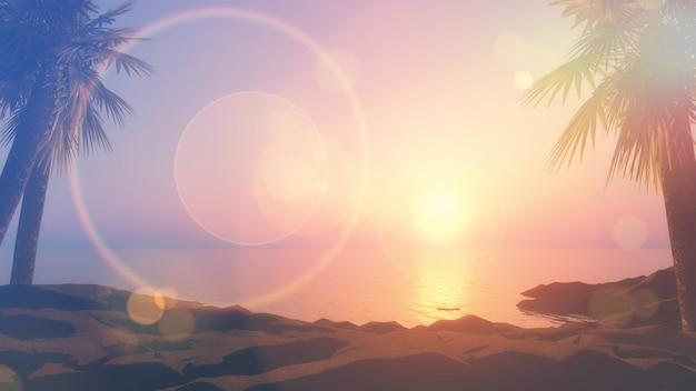 Bildart der weinlese 3d der palmen und der ozeanlandschaft