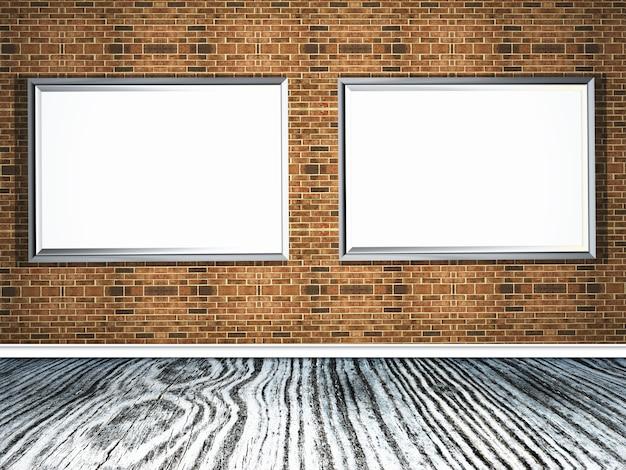 Bilderrahmen 3d auf einer backsteinmauer mit bretterboden