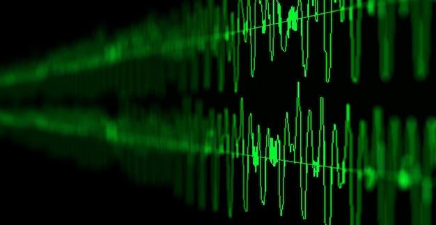 Bildmakronahaufnahme des seismischen, aktienmarktes und des tonaudiowellendiagramms. unschärfe, dof.