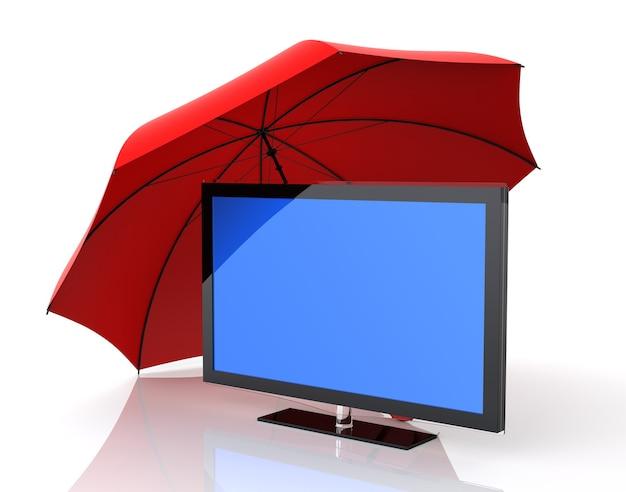 Bildschirm und versicherung. isolierter weißer hintergrund. 3d-rendering.