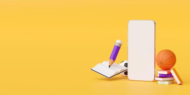 Bildung online-konzept von smartphone mit bildung liefert 3d-illustration