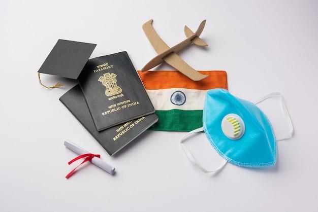 Bildung reise- und tourismuskonzept in der corona-pandemie gestrandete inder, die nach indien zurückkehren oder für ein studium im ausland in ein anderes land auswandern
