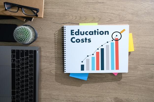 Bildungsdiagramm mit steigendem trend bei den bildungskosten finanzanalyse