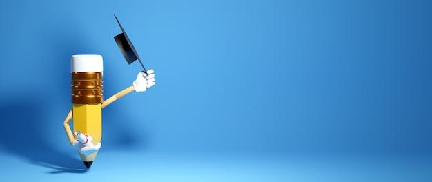 Bildungskonzept. 3d-darstellung eines bleistifts und eines absolventenhutes auf blauer wand.