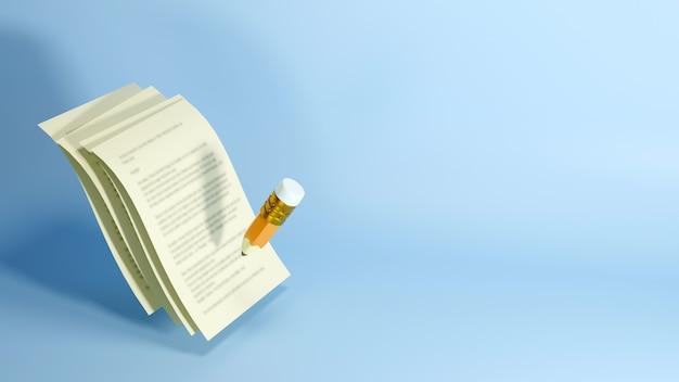 Bildungskonzept. 3d-darstellung eines bleistifts und von papieren auf blauer wand.