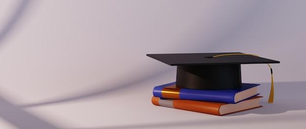 Bildungskonzept. 3d des buches und des diplomhutes auf weißem hintergrund.