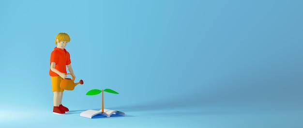 Bildungskonzept. 3d des buches und des kindes auf blauem hintergrund.