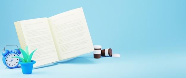Bildungskonzept. 3d des eröffnungsbuchs und der uhr auf blauem hintergrund. isometrisches konzept des modernen flachen entwurfs der bildung. zurück zur schule.