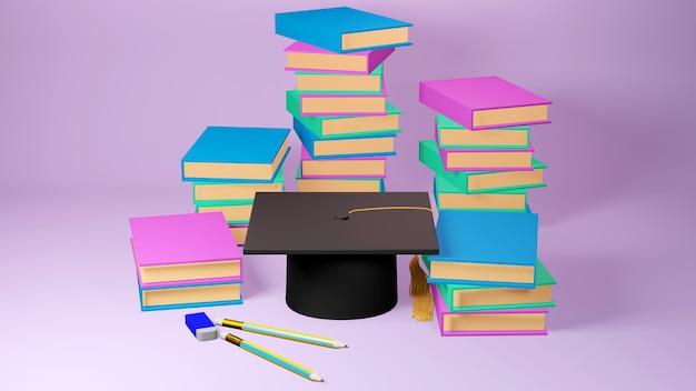 Bildungskonzept. 3d des hutes, bücher auf rosa hintergrund. isometrisches konzept des modernen flachen entwurfs der bildung. zurück zur schule.