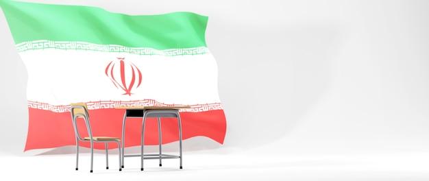 Bildungskonzept. 3d des schreibtisches und der iranflagge auf weißem hintergrund.
